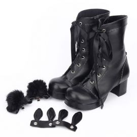 Cosplay lolita boots with earts