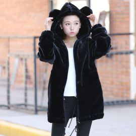 Cute nlack warm plush jacket with ears