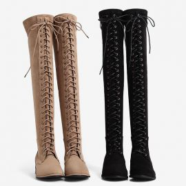 Stylish suede thigh cord boots