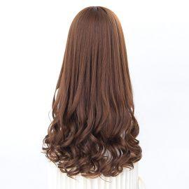 Cosplay long brown curly wig with bangs