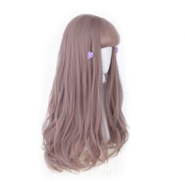 Cosplay long pink curly wig with bangs