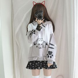 Cute Neko Atsume hoodie with ears