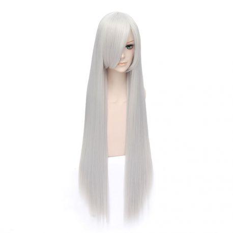 Cosplay pitkä hopeinen suora peruukki