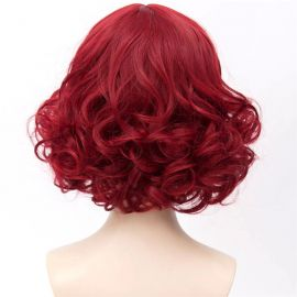 Cosplay short wine red curly wig