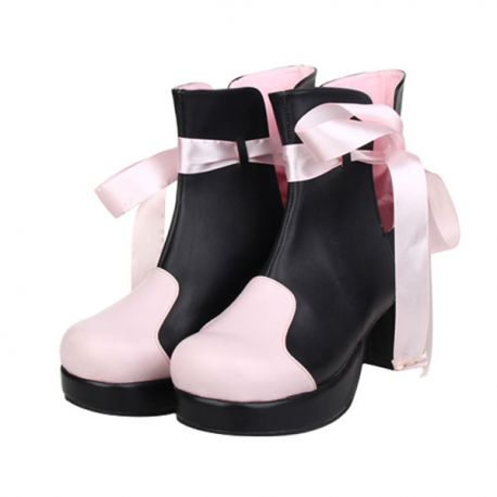 Cosplay Lolita shoes with pink ribbon