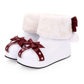 Cosplay foldable lolita shoes with red ribbon