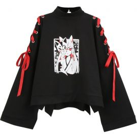 Black anime style blouse with laces