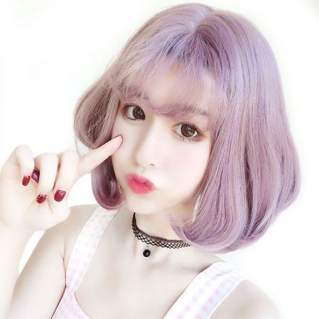 Cosplay short light purple wig