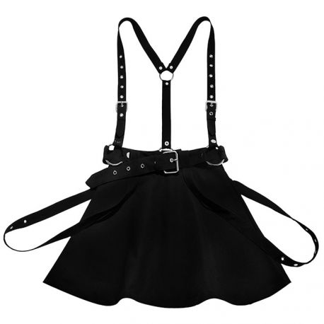 Black punk-style skirt with suspenders