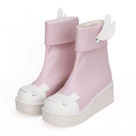 Cosplay lolita saappaat vaaleanpunaisella rusetilla
