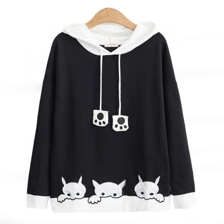 Cat pattern hoodie with ears