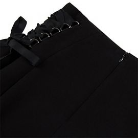 Black punk-style skirt with laces