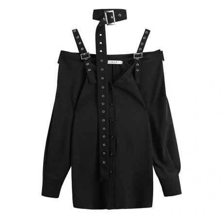 Black punk-style shirt with collar