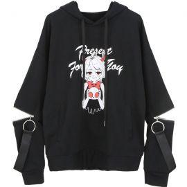 Black anime style hoodie