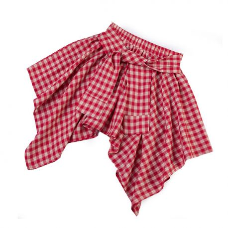 High-waisted checkered skirt