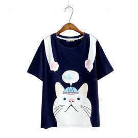 Cute cat pattern T-shirt