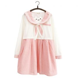 Pink long sleeve sailor fuku with rabbit ears