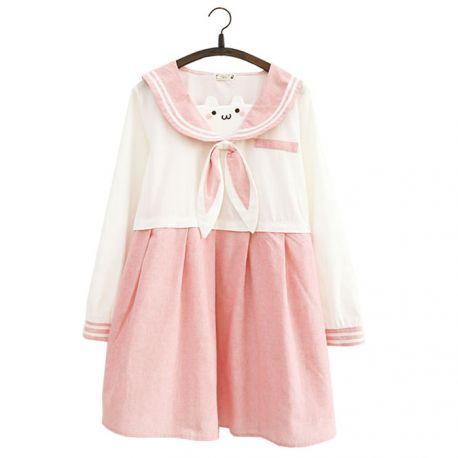 Pink long sleeve sailor fuku with rabbit ears