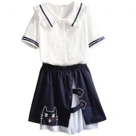 Cute cat pattern sailor fuku