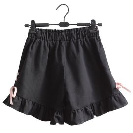 Black skort with ribbons
