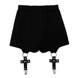 Black gothic style shorts with garters