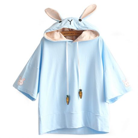 Cute bunny short sleeve hoodie with ears