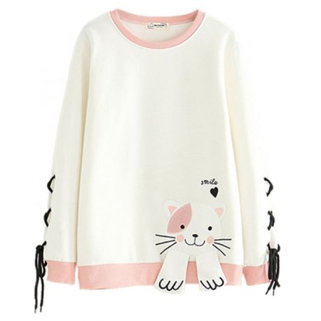 Cute cat hoodie with braids