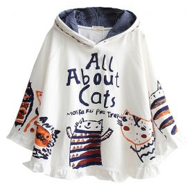 Hooded cat poncho