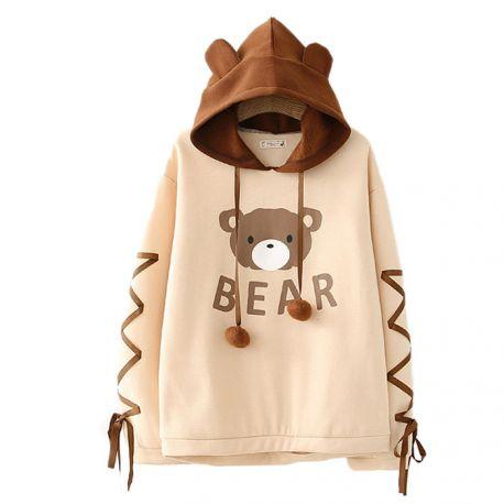 Cute light brown bear hoodie with braids