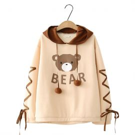 Cute light brown bear hoodie with braids