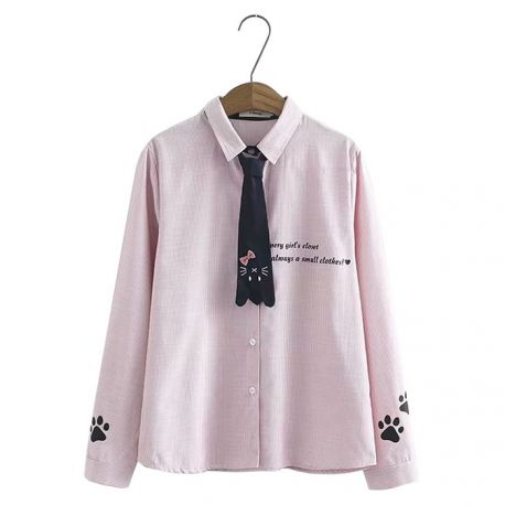 Cat pattern collar shirt with tie