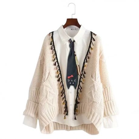 Cardigan with tassels