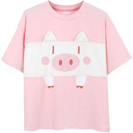 Pink pig pattern T-shirt