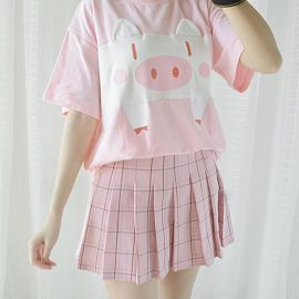 Rabbit pattern T-shirt with ear hood