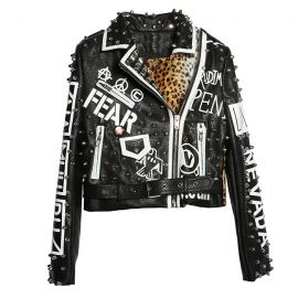 Punk style leather jacket with rivets