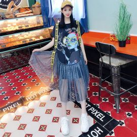 Loose short sleeved t-shirt with skirt