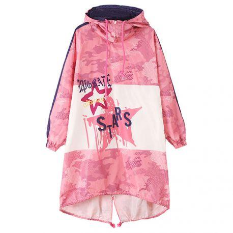 Long pink camo windbreaker jacket