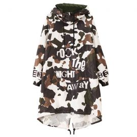 Long camo windbreaker jacket with hood