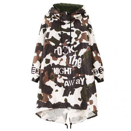 Long camo windbreaker jacket with hood