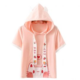 Pink cat pattern hoodie with ears