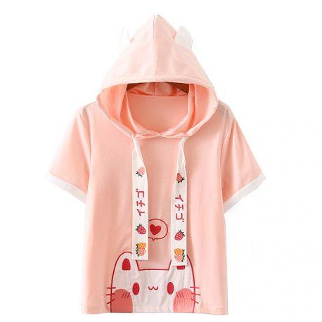 Pink cat pattern hoodie with ears