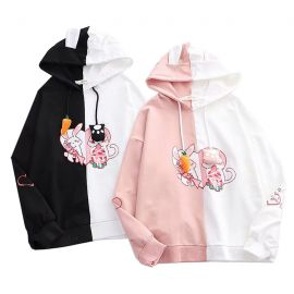 Two color rabbit hoodie