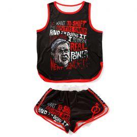 Black Harajuku punk style sport suit