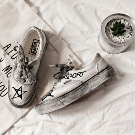 Black & white punk style sneakers