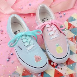 Colorful fruit pattern canvas sneakers