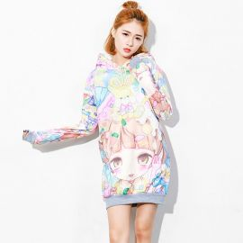 Colorful anime style long hoodie