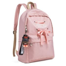 Pink backpack with ribbons