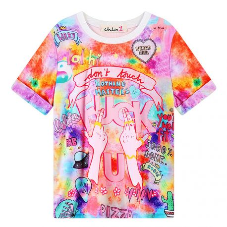Pink colorful FU T-shirt