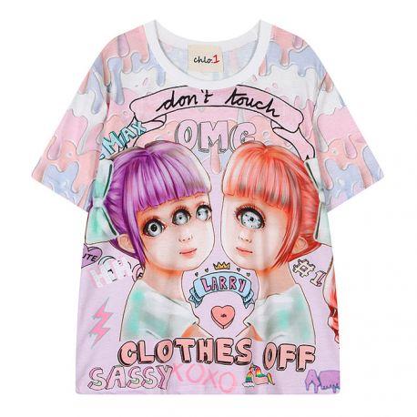 Pink anime style three eyed T-shirt