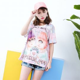 Pink anime style three eyed T-shirt